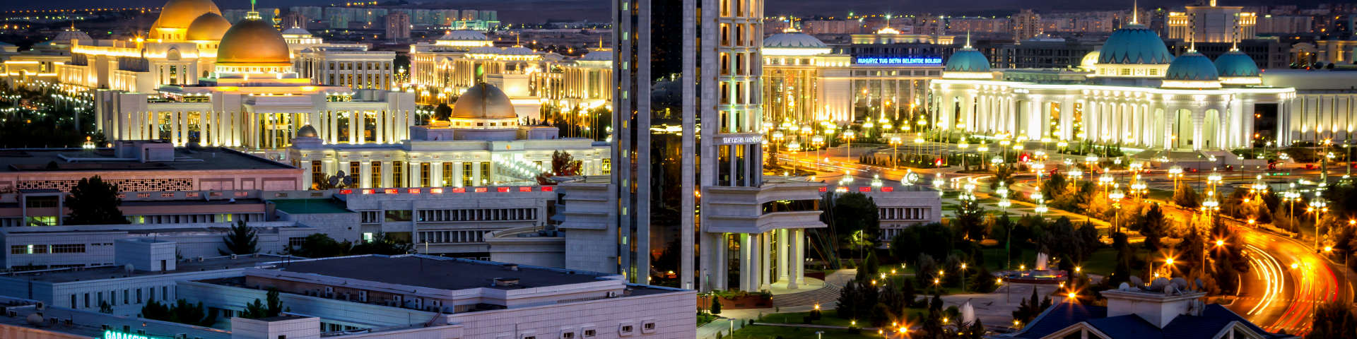 Ashgabat skyline night