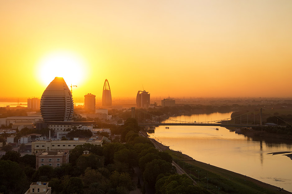 beautiful sunset over the city river in Sudan