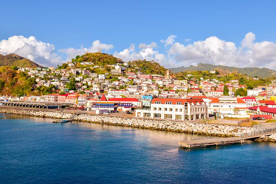 quaint town near the water in Grenada