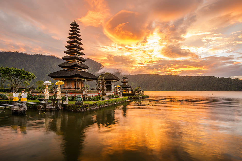 beautiful sunset near the water in Indonesia