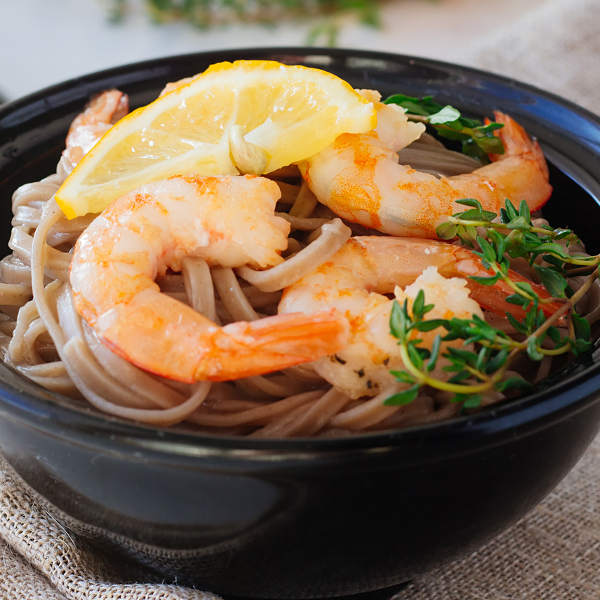 Scoba Noodles With Roasted Shrimp