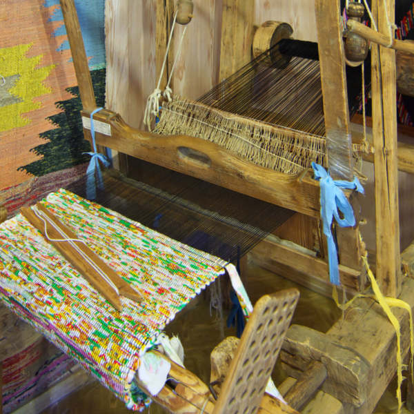 Ancient Wooden Loom In Museum