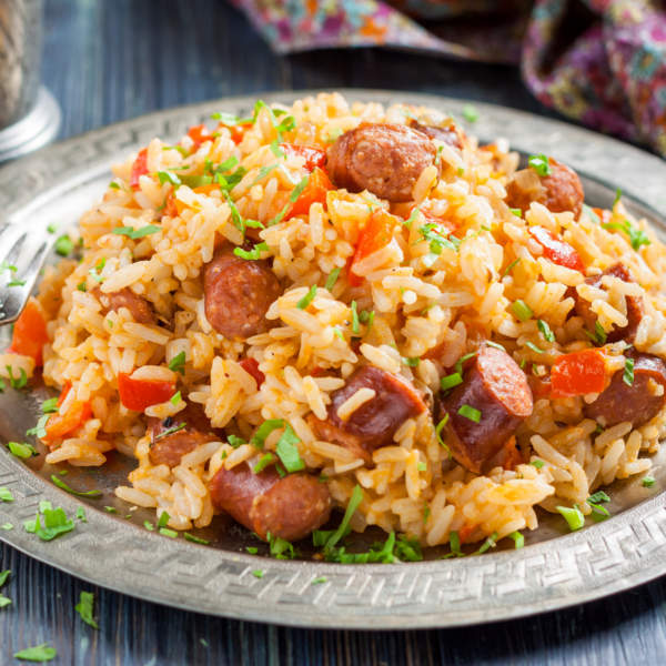 Jambalaya Spicy Rice with Smoked Sausage