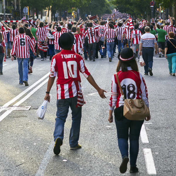 football crowd walking