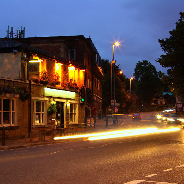 evening view of restaurant pub