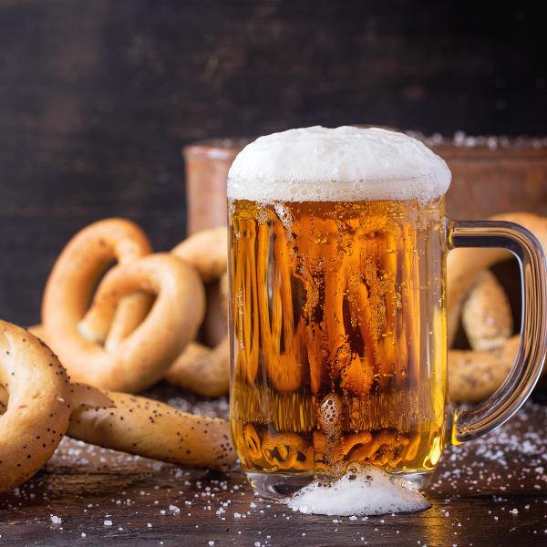 beer with pretzels