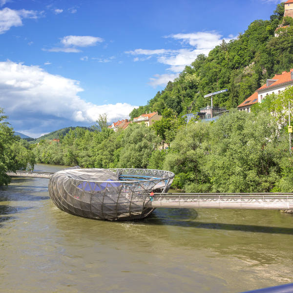 graz murinsel platform on river
