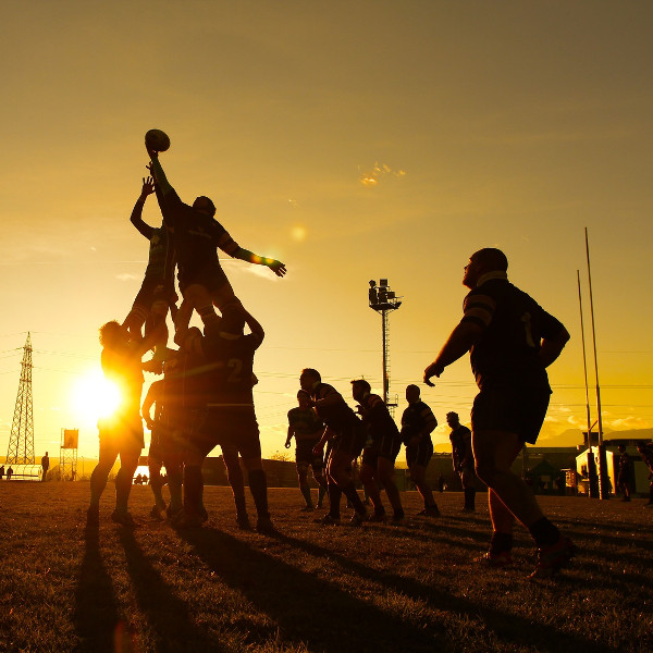 rugby at sunset