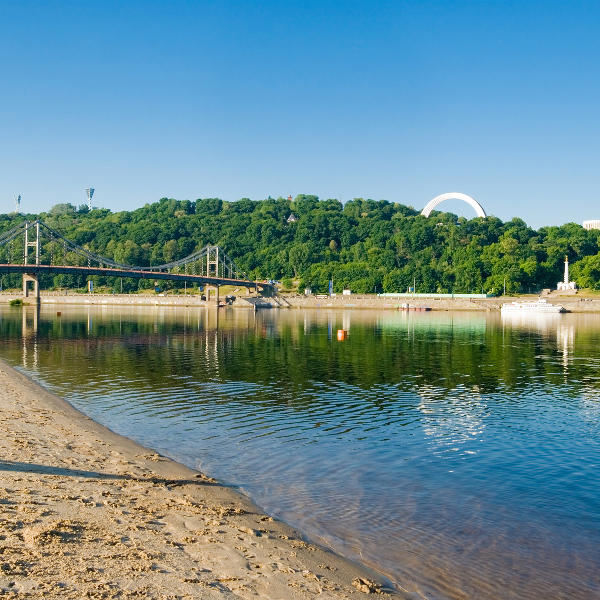 Beach Along Dnipro River Kiev