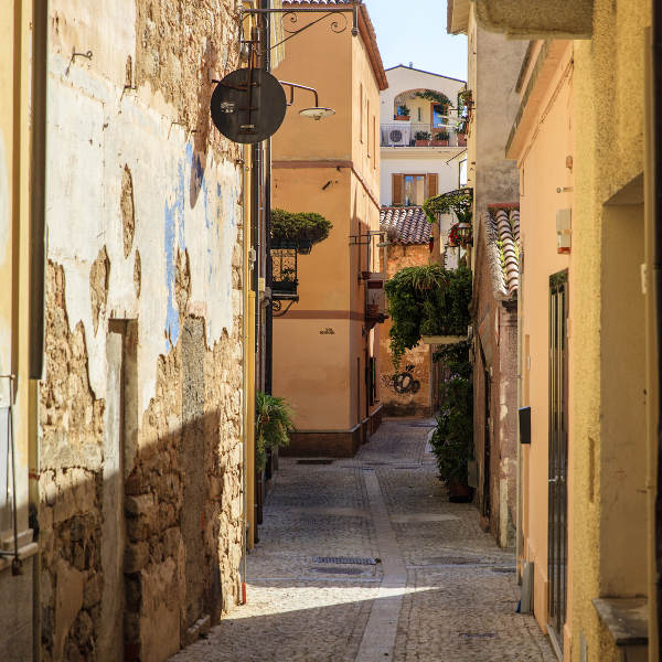 olbia street in old town district