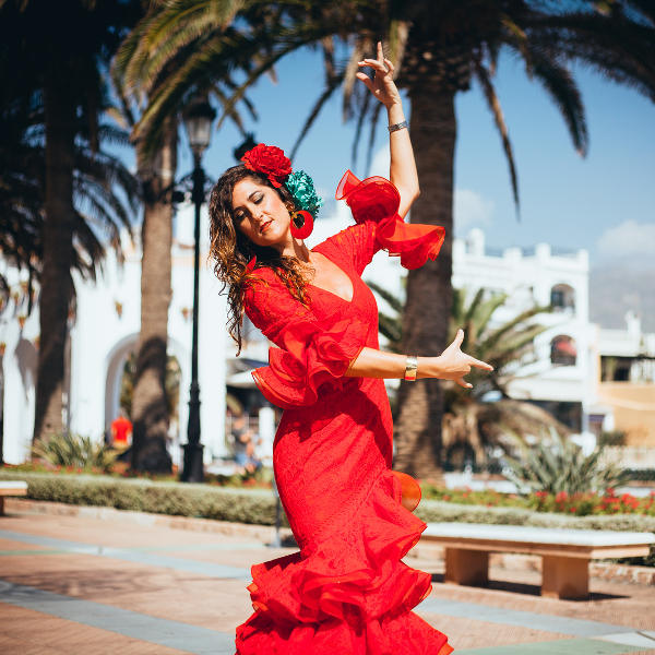 seville flamenco dancer in red