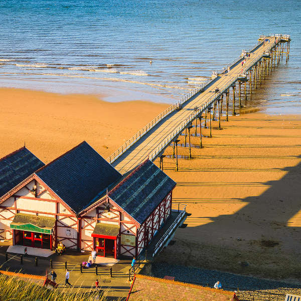 teesside pier on beach saltburn