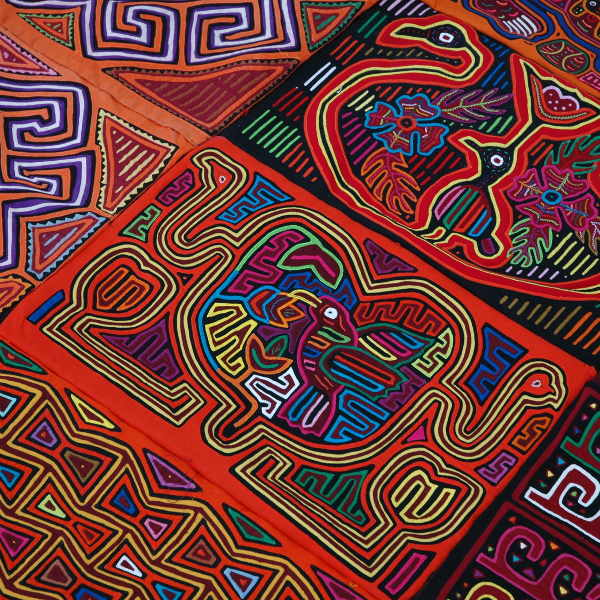 colourful embroidered fabric