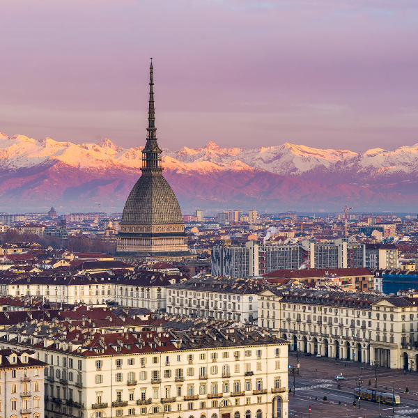 Turin Aerial View of Alps