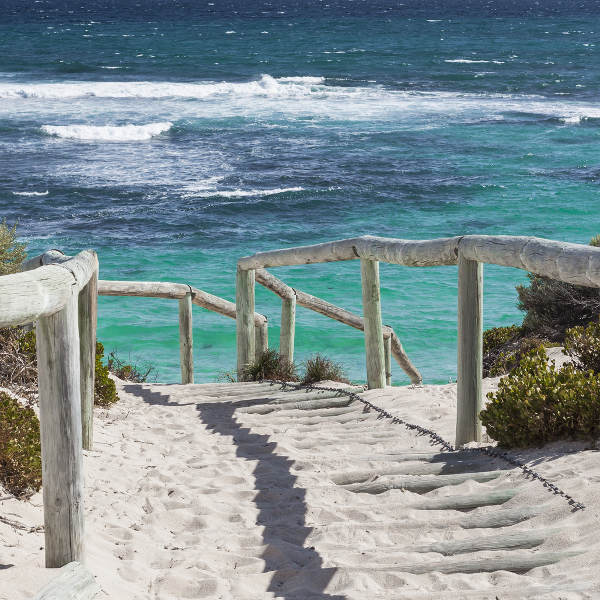 white sand beach walkway