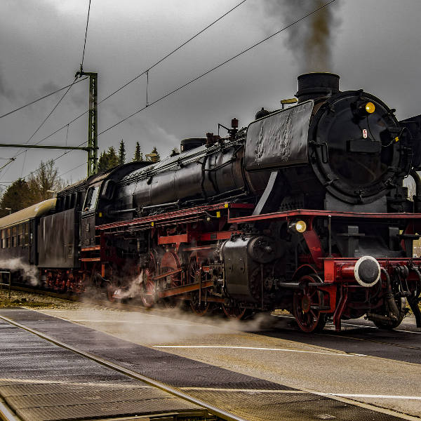 black steam train