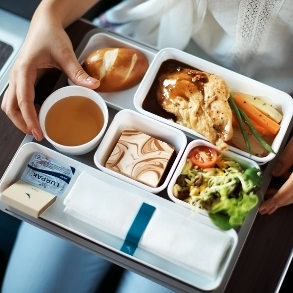 Luxury premium economy meal