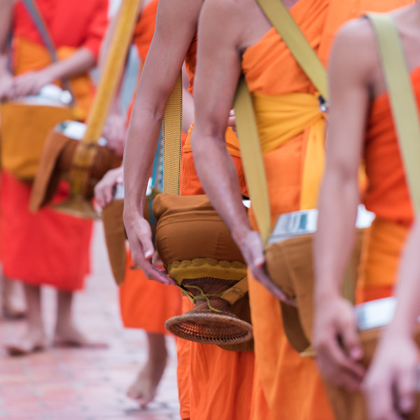 Monks alms procession Luang Prabang