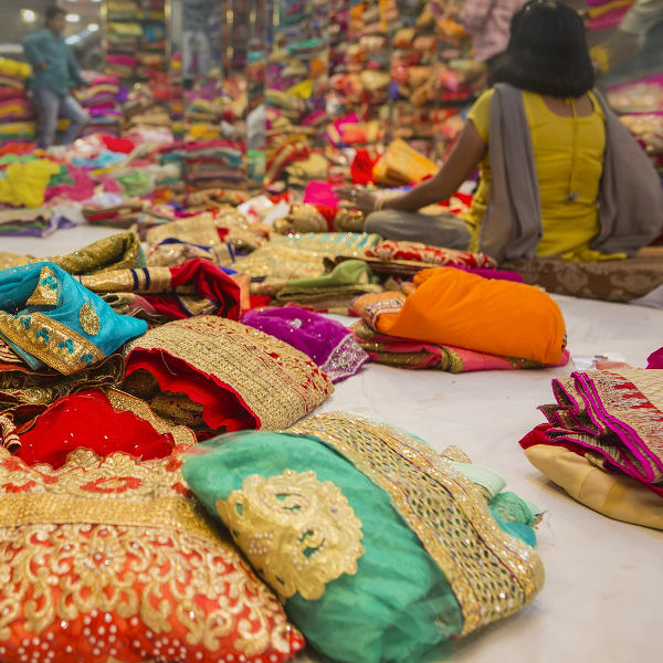 sarees colourful fabrics shopping